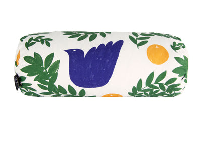 white bolster cushion birds print