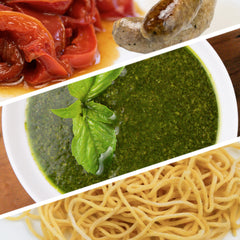 Spaghetti with Basil Pesto, Fennel Sausage and Red Peppers