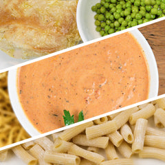 Vodka Sauce with Sauteed Chicken, Green Peas and Rigatoni