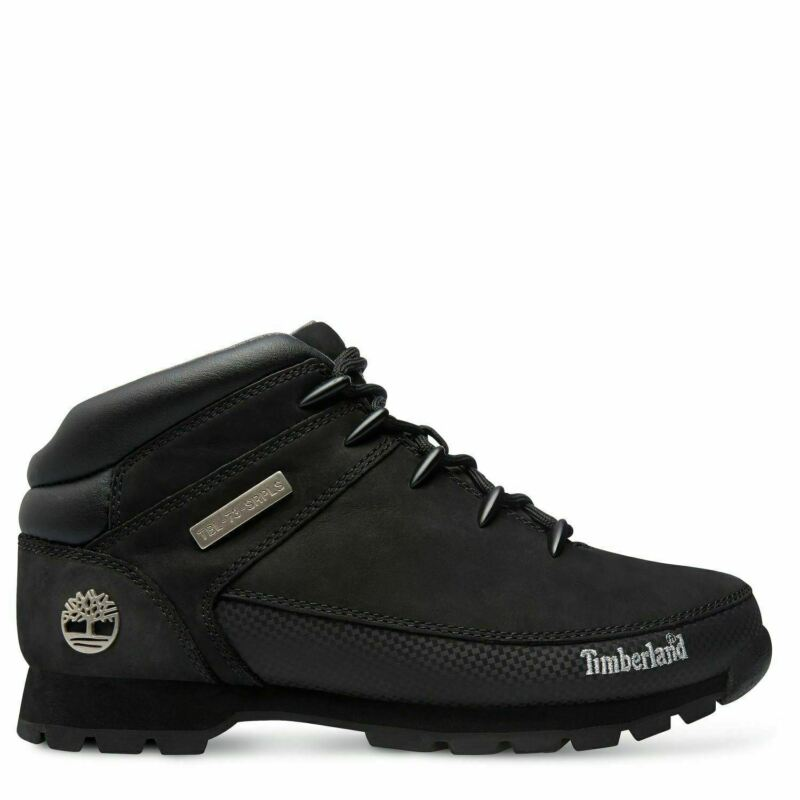 Timberland 6361R Euro Sprint Mens Leather Hikers Hiking Boots Shoes Black Size