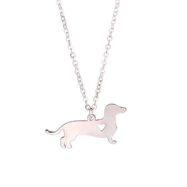 Dachshund / Sausage Dog Pendant with Mini Cut Out Heart Detail on Chain Necklace in Gold or Silver Color - dogsl1fe.myshopify.com - FREE SHIPPING - [variant_title] - Home of Top quality dog products & Accessories for dogs and dog lovers