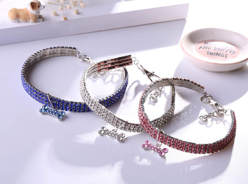 Luxury Rhinestone Three Row Diamanté Bling Dog Collar with Bone Tag Charm (Various Colors & Sizes) - dogsl1fe.myshopify.com - FREE SHIPPING - [variant_title] - Home of Top quality dog products & Accessories for dogs and dog lovers