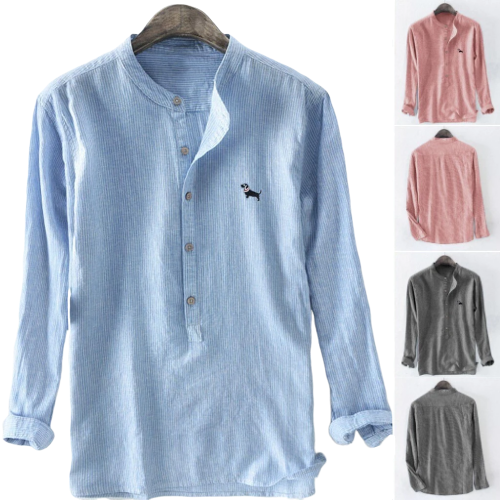 Men's Button Down Casual Summer Linen Shirt with Dog Detail Emblem (Various Colors & Sizes M-XXXL) - dogsl1fe.myshopify.com - FREE SHIPPING - [variant_title] - Home of Top quality dog products & Accessories for dogs and dog lovers
