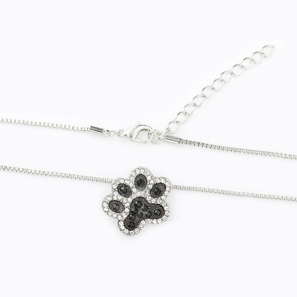 Silver and Black Dog Paw Design with Rhinestone Detail on Chain Necklace