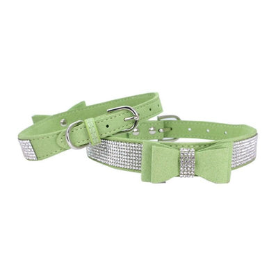 Luxury Rhinestone Bow Tie Suede and Padded Leather Bling Dog Collar with Buckle (Various Colors & Sizes)