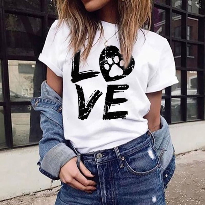 Women's 'LOVE' Slogan Print Paw and Heart Detail Dog T-shirt (Various Colors)