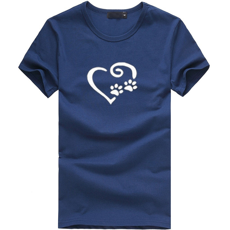 Women's Heart and Paw Print Swirl Design T-shirt (Various Colors) - dogsl1fe.myshopify.com - FREE SHIPPING - [variant_title] - Home of Top quality dog products & Accessories for dogs and dog lovers