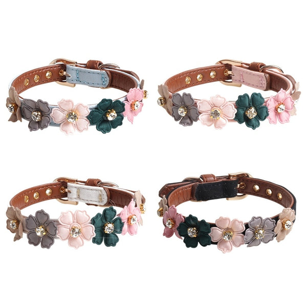 Flower Pastel Design with Jewel Detail Soft Leather Dog Collar with Buckle (Various Colors & Sizes) - dogsl1fe.myshopify.com - FREE SHIPPING - [variant_title] - Home of Top quality dog products & Accessories for dogs and dog lovers
