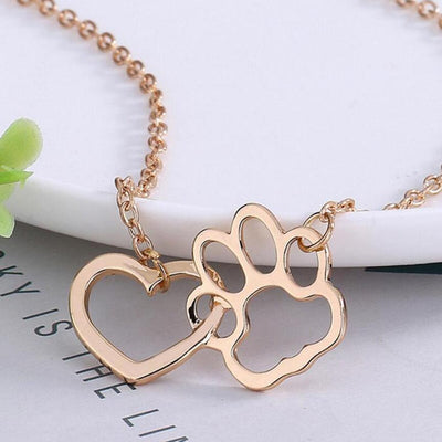 Heart and Dog Paw Link Pendant Loop Detail on Chain Necklace in Gold or Silver Color