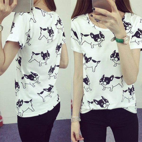 Women's French Bulldog Cartoon Print Dog Frenchie Design on White T-shirt - dogsl1fe.myshopify.com - FREE SHIPPING - [variant_title] - Home of Top quality dog products & Accessories for dogs and dog lovers