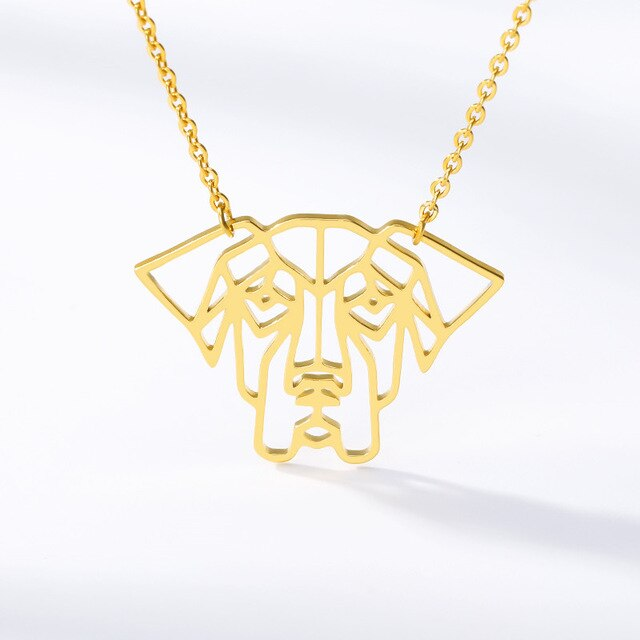 Silhouette Dog Outline Pendant Design on Chain Necklace in Gold / Silver / Rose Gold Color