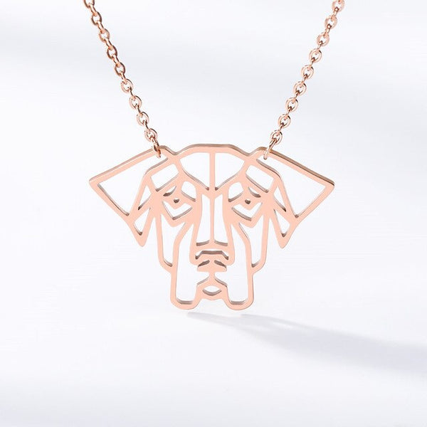 Silhouette Dog Outline Pendant Design on Chain Necklace in Gold / Silver / Rose Gold Color - dogsl1fe.myshopify.com - FREE SHIPPING - Rose Gold Color / United States - Home of Top quality dog products & Accessories for dogs and dog lovers