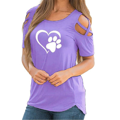 Women's Paw and Heart Print Dog T-shirt with Open Shoulder Cross Detail (7 Colors & Various Sizes)