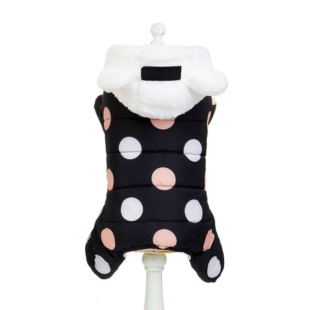 Winter Polka Dot Hooded Padded Jacket Warm Fleece-Lined Dog Coat with Ear Detail Hood (3 Colors & Various Sizes) - dogsl1fe.myshopify.com - FREE SHIPPING - Black / L / United States - Home of Top quality dog products & Accessories for dogs and dog lovers