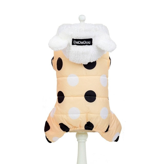 Winter Polka Dot Hooded Padded Jacket Warm Fleece-Lined Dog Coat with Ear Detail Hood (3 Colors & Various Sizes) - dogsl1fe.myshopify.com - FREE SHIPPING - Yellow / XXL / United States - Home of Top quality dog products & Accessories for dogs and dog lovers