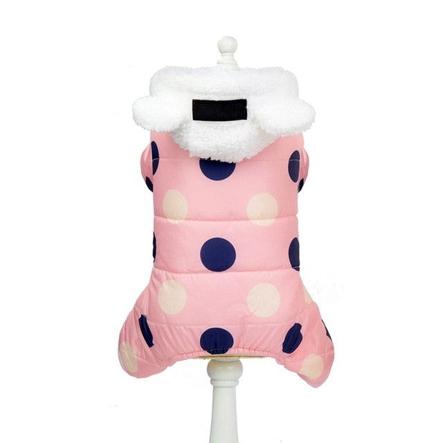 Winter Polka Dot Hooded Padded Jacket Warm Fleece-Lined Dog Coat with Ear Detail Hood (3 Colors & Various Sizes) - dogsl1fe.myshopify.com - FREE SHIPPING - Pink / XXL / United States - Home of Top quality dog products & Accessories for dogs and dog lovers