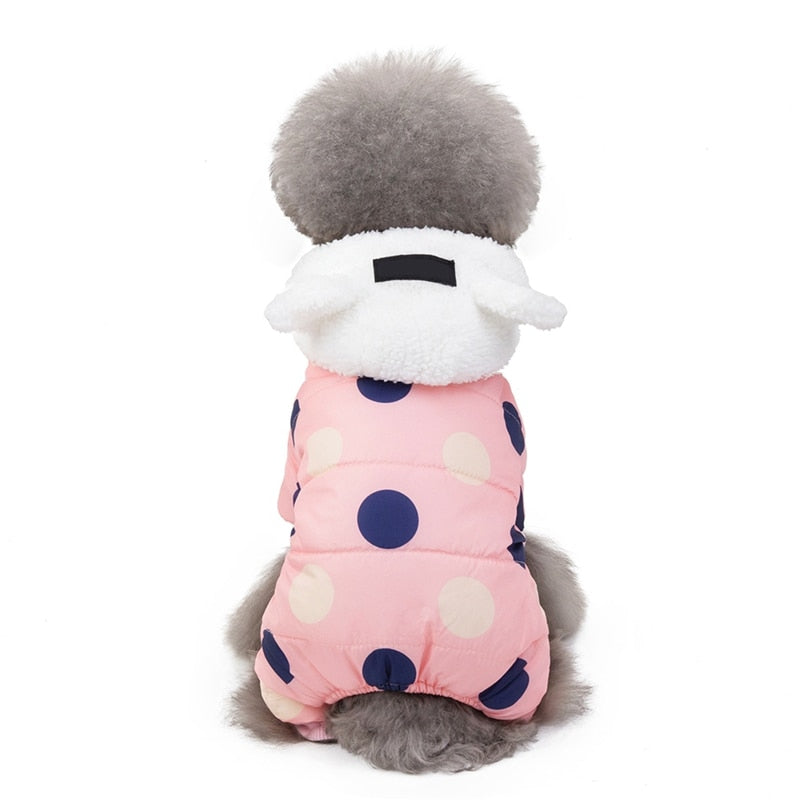 Winter Polka Dot Hooded Padded Jacket Warm Fleece-Lined Dog Coat with Ear Detail Hood (3 Colors & Various Sizes) - dogsl1fe.myshopify.com - FREE SHIPPING - [variant_title] - Home of Top quality dog products & Accessories for dogs and dog lovers