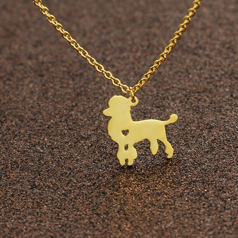 Poodle Dog Pendant with Mini Cut Out Heart Detail on Chain Necklace in Gold or Silver Color