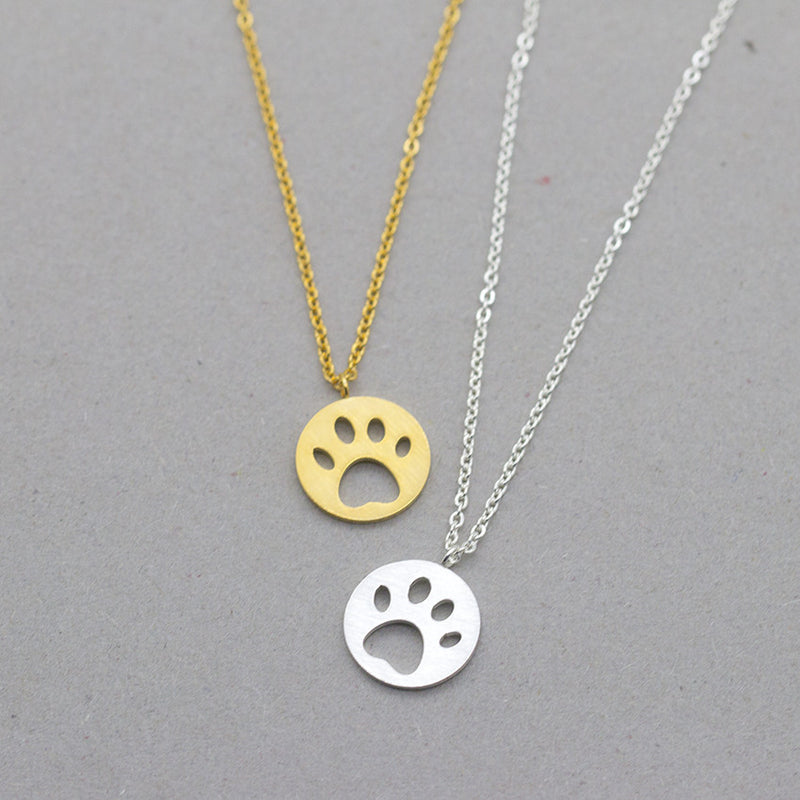 Dog Paw Cut out Design on Circle Pendant on Chain Necklace in Gold / Silver / Rose Gold Color