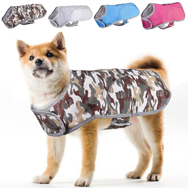 Waterproof Padded Fleece-Lined Gilet Dog Vest with Reflective Detail and Velcro Strap (Various Colors & Sizes)
