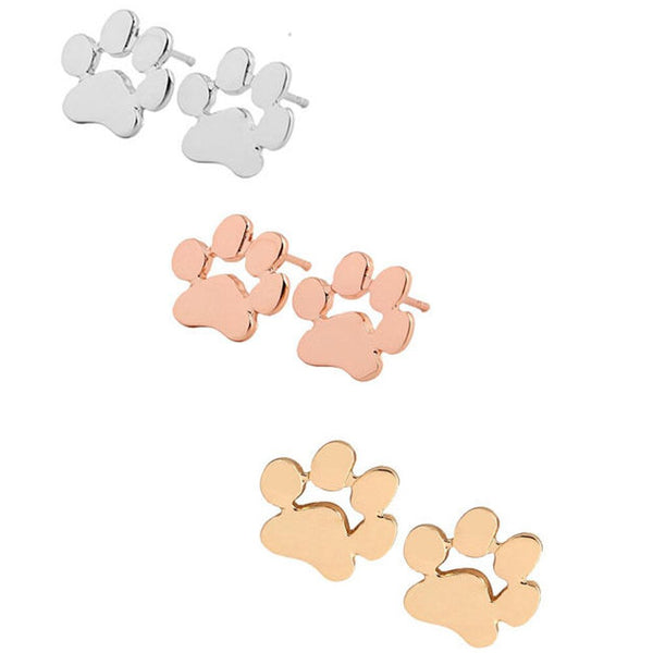 Paw Dog Design Jewelry Stud Earrings in Gold / Silver / Rose Gold Color