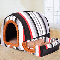 Dual Foldable Soft Dog House Durable Bed Warm Indoor Kennel (6 Colors & 3 Sizes Available) - dogsl1fe.myshopify.com - FREE SHIPPING - Black / 45X38X36cm / United States - Home of Top quality dog products & Accessories for dogs and dog lovers