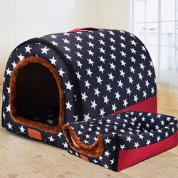 Dual Foldable Soft Dog House Durable Bed Warm Indoor Kennel (6 Colors & 3 Sizes Available) - dogsl1fe.myshopify.com - FREE SHIPPING - Navy / 45X38X36cm / United States - Home of Top quality dog products & Accessories for dogs and dog lovers