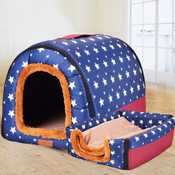 Dual Foldable Soft Dog House Durable Bed Warm Indoor Kennel (6 Colors & 3 Sizes Available) - dogsl1fe.myshopify.com - FREE SHIPPING - Blue / 45X38X36cm / United States - Home of Top quality dog products & Accessories for dogs and dog lovers