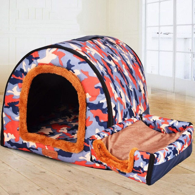 Dual Foldable Soft Dog House Durable Bed Warm Indoor Kennel (6 Colors & 3 Sizes Available) - dogsl1fe.myshopify.com - FREE SHIPPING - Orange / 45X38X36cm / United States - Home of Top quality dog products & Accessories for dogs and dog lovers