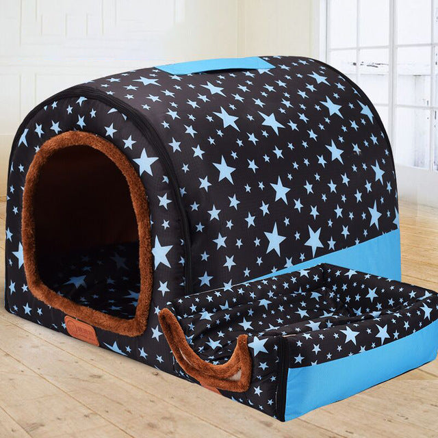 Dual Foldable Soft Dog House Durable Bed Warm Indoor Kennel (6 Colors & 3 Sizes Available) - dogsl1fe.myshopify.com - FREE SHIPPING - Navy Blue / 45X38X36cm / United States - Home of Top quality dog products & Accessories for dogs and dog lovers