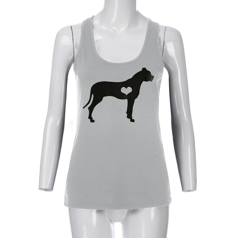 Women's Large Dog Heart Print Outline Design Racerback Vest Sleeveless Tank Top (Various Colors & Sizes) - dogsl1fe.myshopify.com - FREE SHIPPING - [variant_title] - Home of Top quality dog products & Accessories for dogs and dog lovers