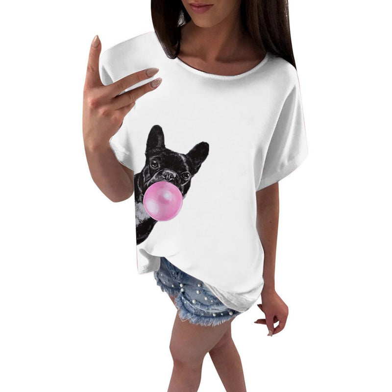 Women's French Bulldog with Pink Bubblegum Bubble Frenchie Print White T-shirt - dogsl1fe.myshopify.com - FREE SHIPPING - [variant_title] - Home of Top quality dog products & Accessories for dogs and dog lovers