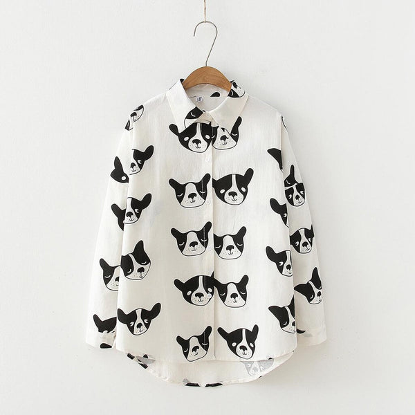Women's Dog Print Button Up Cotton Blouse with French Bulldog Design (Various Colors)