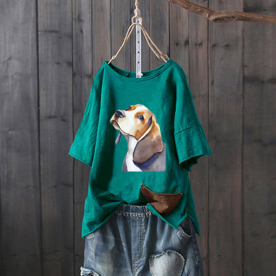 Women's Beagle Watercolor Print Dog Design Loose Fit T-shirt with Side Pocket (Various Colors)
