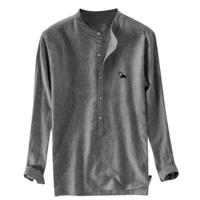 Men's Button Down Casual Summer Linen Shirt with Dog Detail Emblem (Various Colors & Sizes M-XXXL)