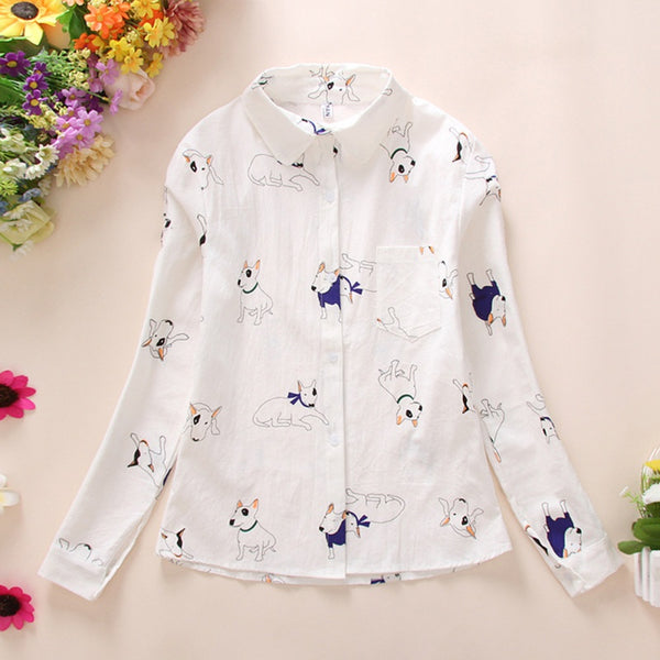 Women's Dog Print Cartoon Design Long Sleeve White Button Up Blouse