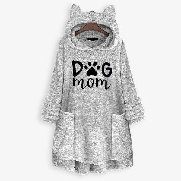 Women's 'Dog Mom' Paw Print Design Fleece Hooded Sweater Dress with Ears and Pocket Detail (Various Colors) - dogsl1fe.myshopify.com - FREE SHIPPING - Gray / 4XL / United States - Home of Top quality dog products & Accessories for dogs and dog lovers