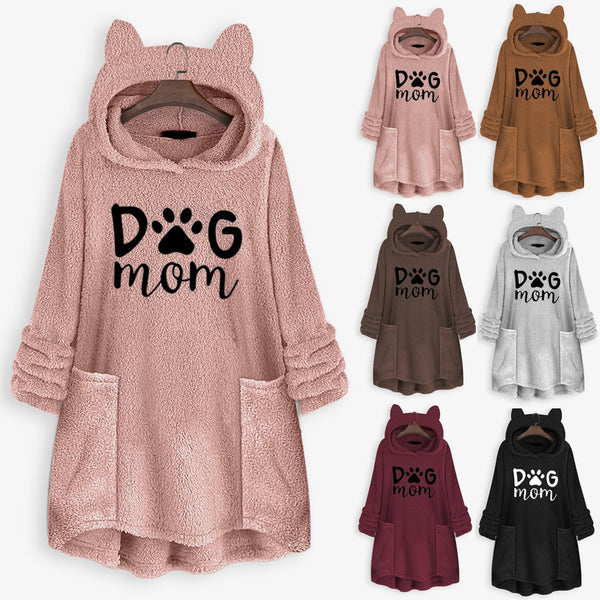 Women's 'Dog Mom' Paw Print Design Fleece Hooded Sweater Dress with Ears and Pocket Detail (Various Colors)