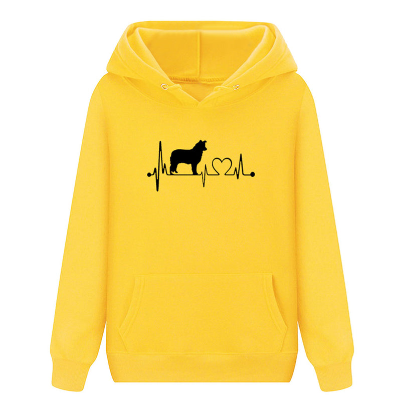 Unisex Dog and Heart in Pulse Heartbeat Monitor Pattern Long Sleeve Hoodie Sweatshirt (Various Colors)