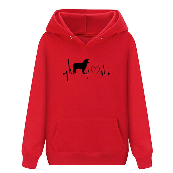 Unisex Dog and Heart in Pulse Heartbeat Monitor Pattern Long Sleeve Hoodie Sweatshirt (Various Colors) - dogsl1fe.myshopify.com - FREE SHIPPING - [variant_title] - Home of Top quality dog products & Accessories for dogs and dog lovers