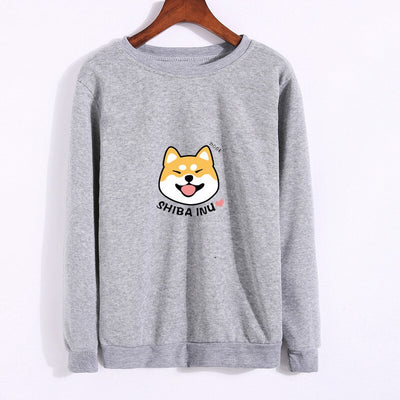 Women's Shiba Inu Cartoon Print Text Dog Design Long Sleeve Sweatshirt (Various Colors)