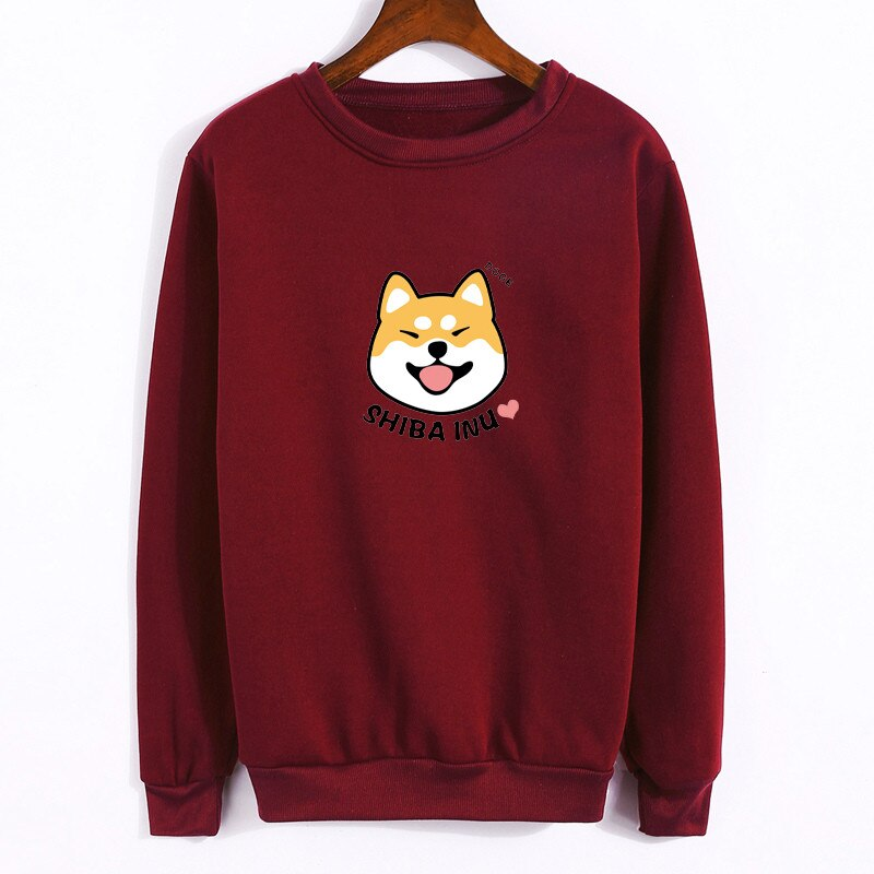 Women's Shiba Inu Cartoon Print Text Dog Design Long Sleeve Sweatshirt (Various Colors & Sizes) - dogsl1fe.myshopify.com - FREE SHIPPING - [variant_title] - Home of Top quality dog products & Accessories for dogs and dog lovers