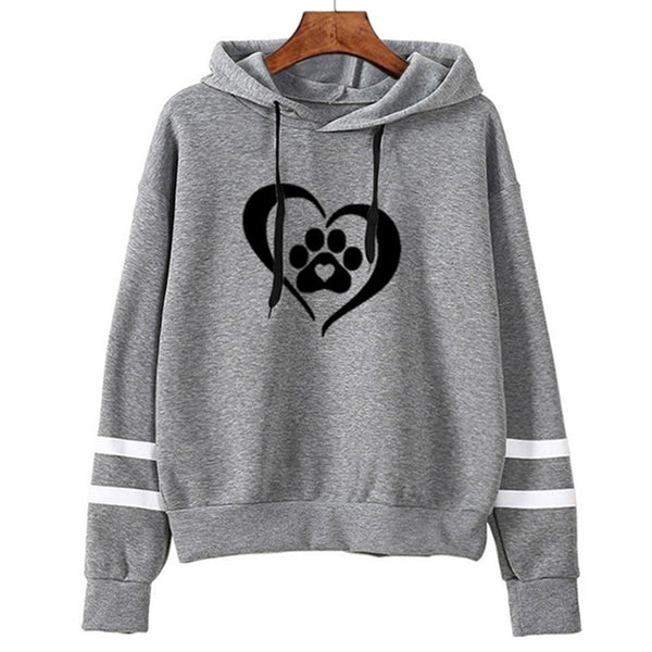 Women's Gray Heart and Paw Print Dog Design Contrast Sleeve Stripes Long Sleeve Hoodie Sweatshirt - dogsl1fe.myshopify.com - FREE SHIPPING - [variant_title] - Home of Top quality dog products & Accessories for dogs and dog lovers