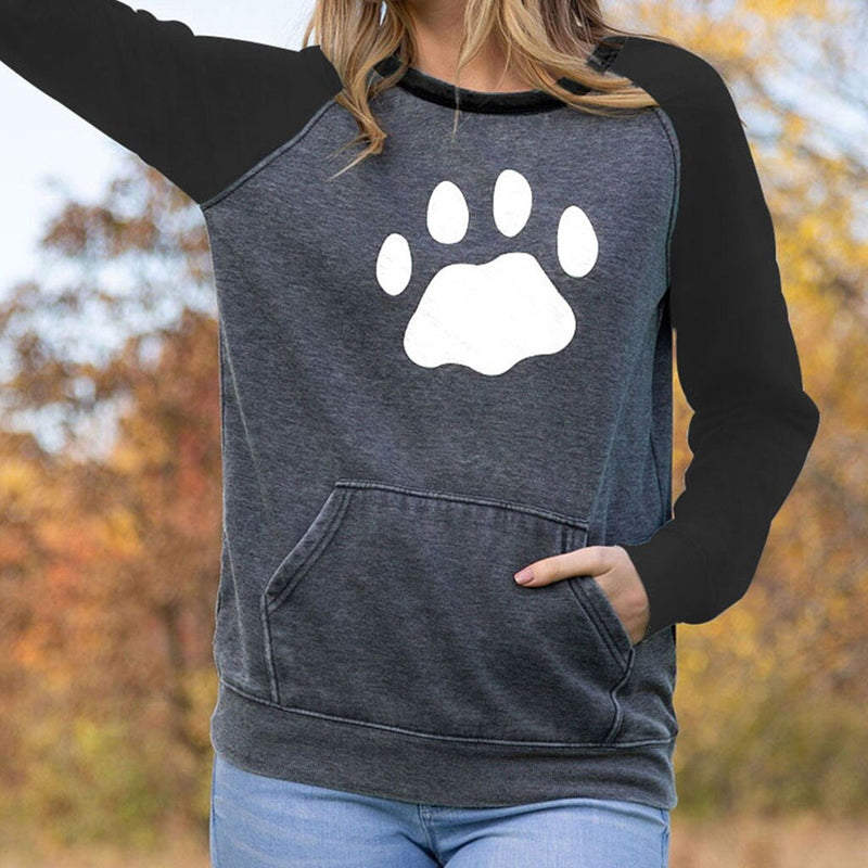 Women's Paw Print Long Sleeve Baseball Style Contrast Dog Sweatshirt with Pocket (Various Colors) - dogsl1fe.myshopify.com - FREE SHIPPING - [variant_title] - Home of Top quality dog products & Accessories for dogs and dog lovers
