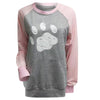 Women's Paw Print Long Sleeve Baseball Style Contrast Sweatshirt with Pocket (Various Colors)