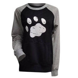 Women's Paw Print Long Sleeve Baseball Style Contrast Dog Sweatshirt with Pocket (Various Colors) - dogsl1fe.myshopify.com - FREE SHIPPING - Black / L / United States - Home of Top quality dog products & Accessories for dogs and dog lovers