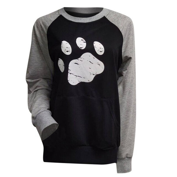 Women's Paw Print Long Sleeve Baseball Style Contrast Dog Sweatshirt with Pocket (Various Colors)