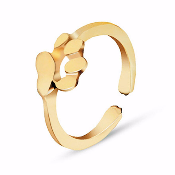 Gold Dog Paw Design Finger Jewelry Ring - dogsl1fe.myshopify.com - FREE SHIPPING - [variant_title] - Home of Top quality dog products & Accessories for dogs and dog lovers