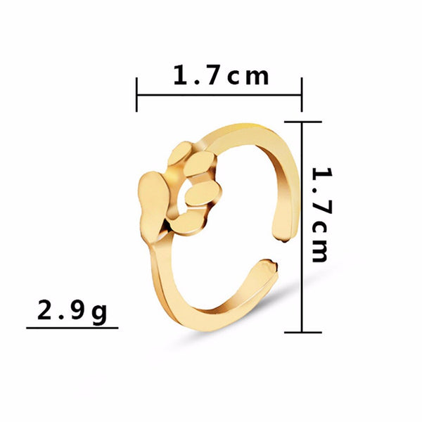 Gold Dog Paw Design Finger Jewelry Ring