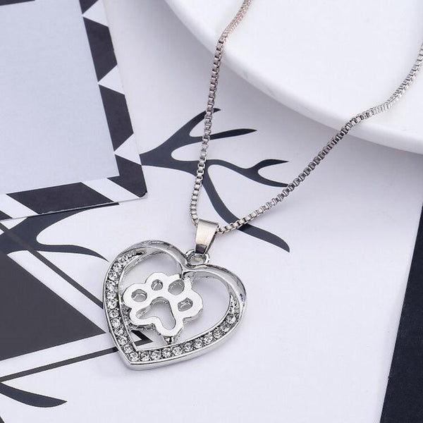 Silver Dog Paw Design in Rhinestone Crystal Heart on Link Chain Necklace - dogsl1fe.myshopify.com - FREE SHIPPING - [variant_title] - Home of Top quality dog products & Accessories for dogs and dog lovers